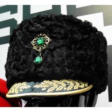 Женская шапка, черный каракуль S034
