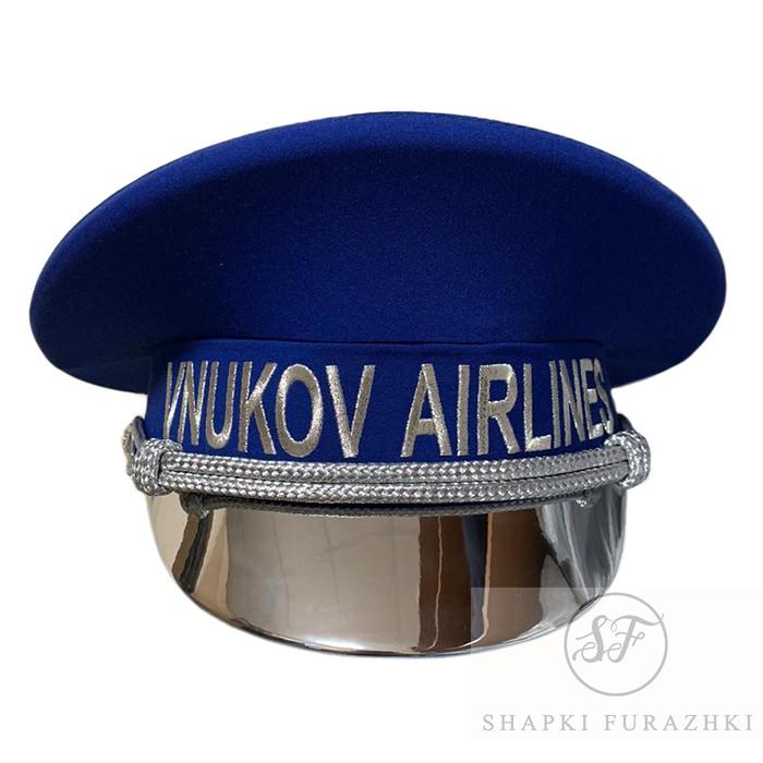 Фуражка VNUKOVO AIRLINES, козырек серебро лак, машинная вышивка