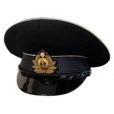 Фуражка ВМФ черная с белыми кантами и кокардой ручной вышивки VMF014
