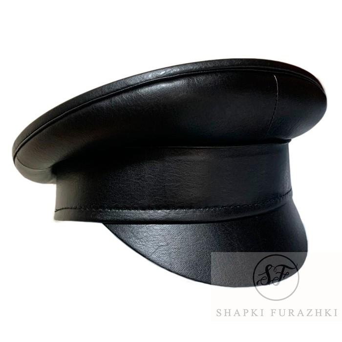 Фуражка мужская из черной кожи