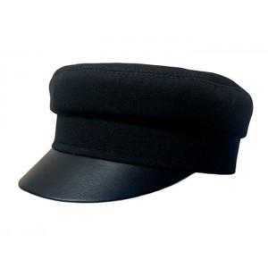 Кепи-картуз черный с кожаным козырьком T037-1