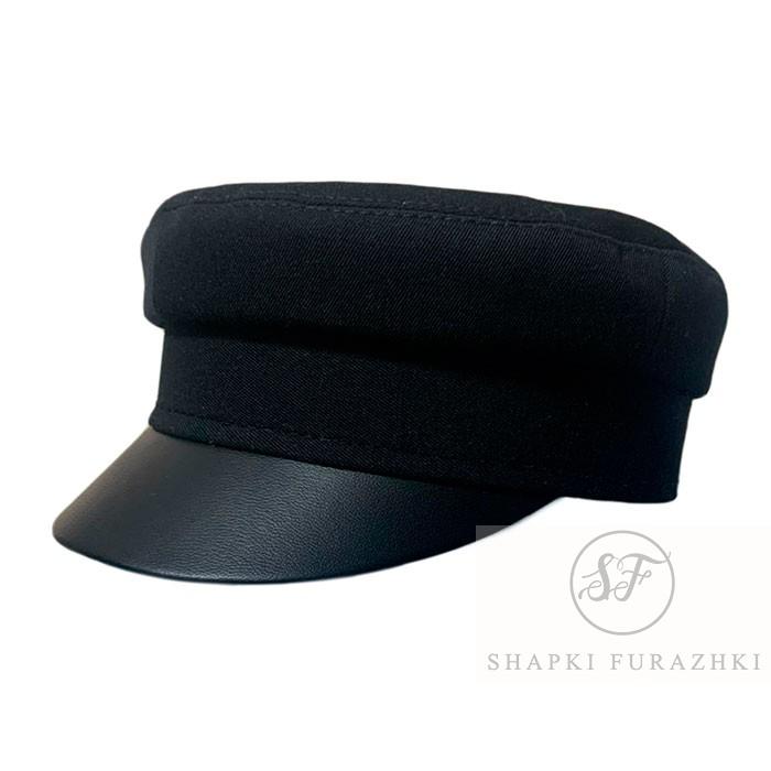 Кепи-картуз с кожаным козырьком черный