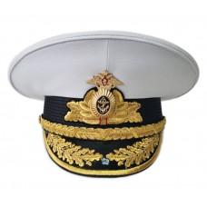 Фуражка ВМФ адмиральская белая чехол съемный, с машинной вышивкой VMF016