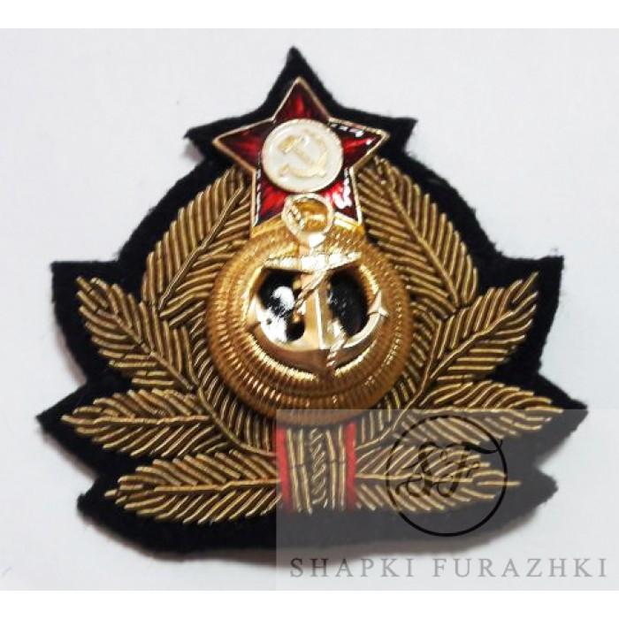 Кокарда (краб) ВМФ СССР вышитый, латунь