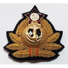 Кокарда (краб) ВМФ СССР KRV002 ручная вышивка, золото