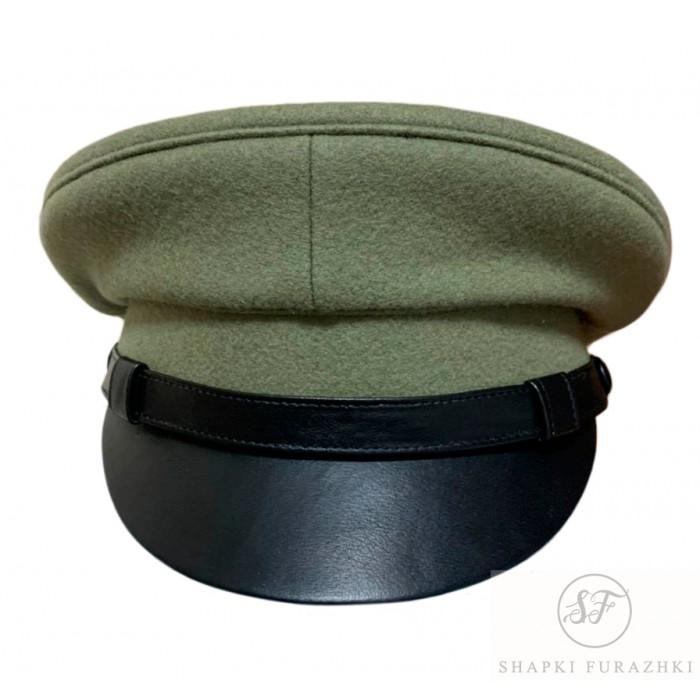 Фуражка военно-историческая, козырёк и ремешок кожа