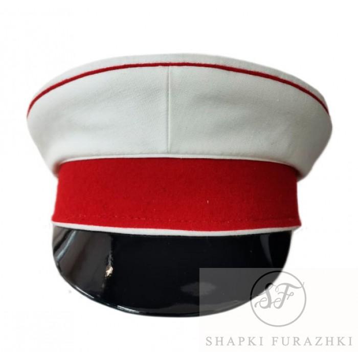 Фуражка историческая белая с красным околом и кантом