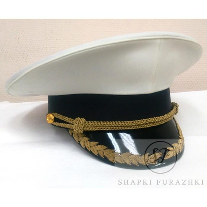 Фуражка ВМФ белая с козырьком ручной вышивки, материалом латунь VMF002 (цена указана без учета фурнитуры и вышивки)