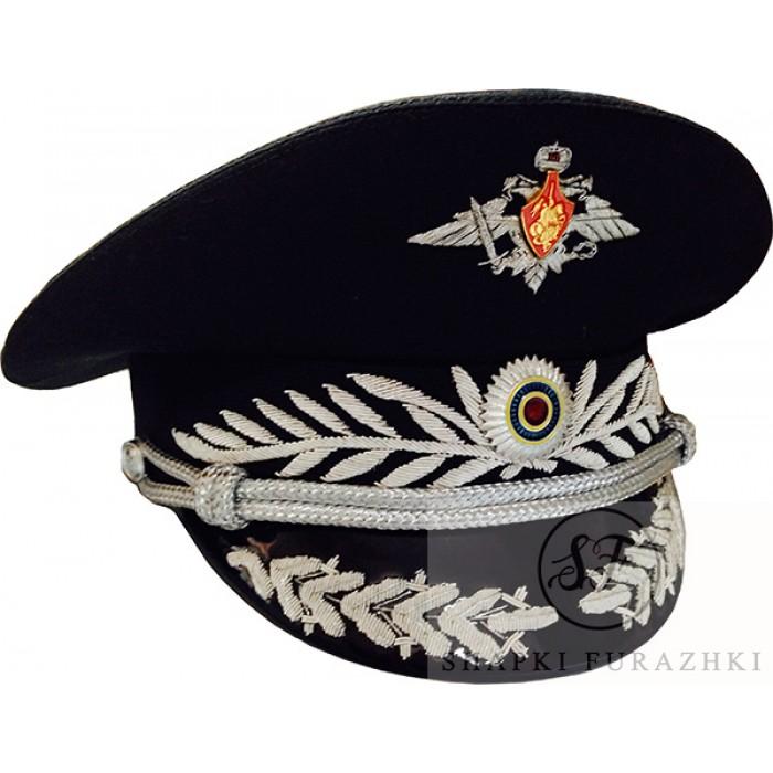 Фуражка офисная черная с ручной вышивкой OF011
