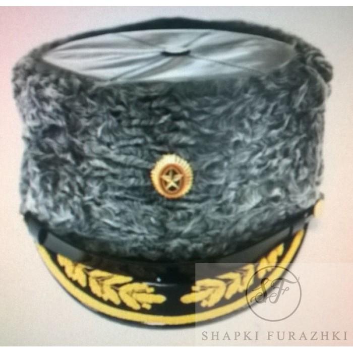 Шапка Министерства Обороны нового образца (каракуль, кожа, ручная вышивка) SH008