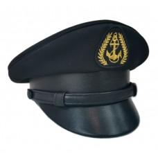 Фуражка черная с кожаным козырьком, околышем и ремешком Y081-1
