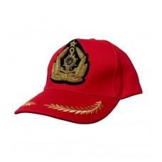 Бейсболка красная с кокардой ручной вышивки Y265