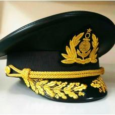 Капитанская фуражка черная кожаная Y155