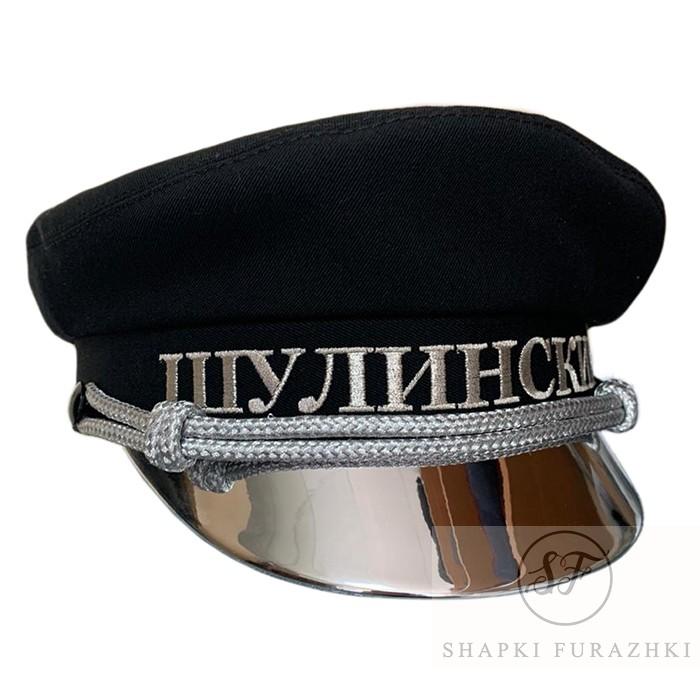 Картуз по типу яхтенной фуражки, козырек серебро лак, машинная вышивка