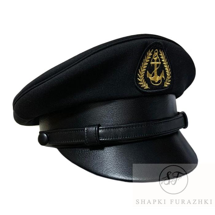 Фуражка черная с кожаным козырьком, околышем и ремешком Y081-2