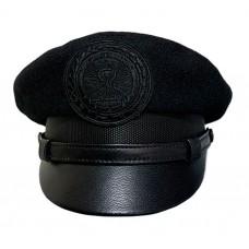 Капитанка в черном цвете, верх сукно, козырек кожа, ремешок кожа Y299