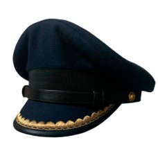 Капитанка в синем цвете, козырек с окантовкой кожей и вышивкой, ремешок кожа Y300
