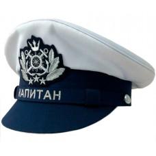 Капитанка с вышивкой, темно-синий окол и козырек, белый верх Y309