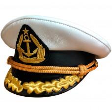 Капитанка белая кожа с вышивкой золотом Y306