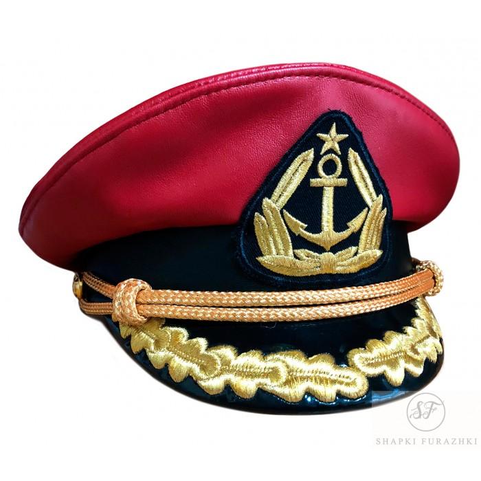 Капитанка с верхом из красной кожи с вышивкой золотом