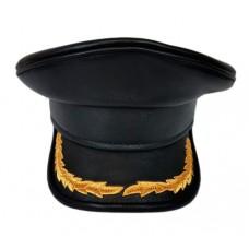 Капитанка кожа, козырёк верх кожа, окантованный кантом (кожа) Y302