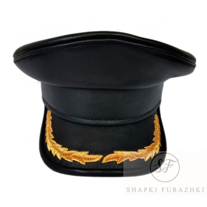 Капитанка кожа, козырёк верх кожа, окантованный кантом (кожа)