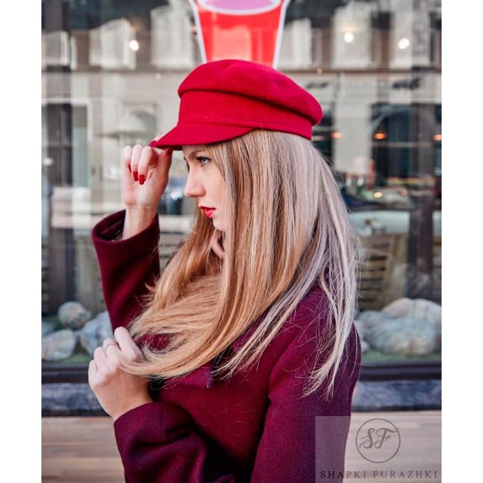 Кепи-картуз женский красный T176