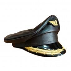 Яхтенная фуражка верх коричневая натуральная кожа Kepi025