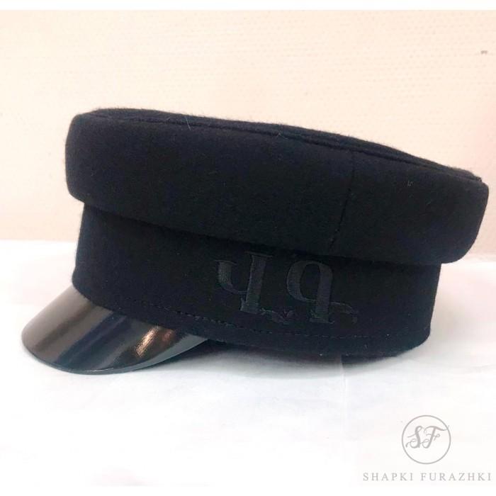 Картуз-кепи, черный, с машинной вышивкой T020