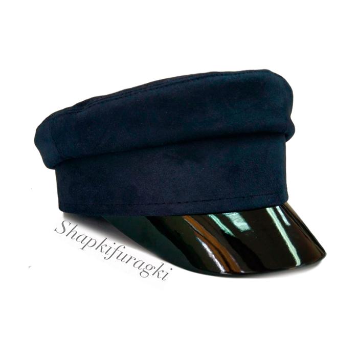 Кепи-картуз женский из синей замши T001