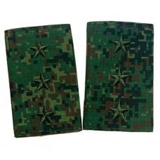 Фальш погоны Старший прапорщик зеленая цифра, машинная вышивка P088