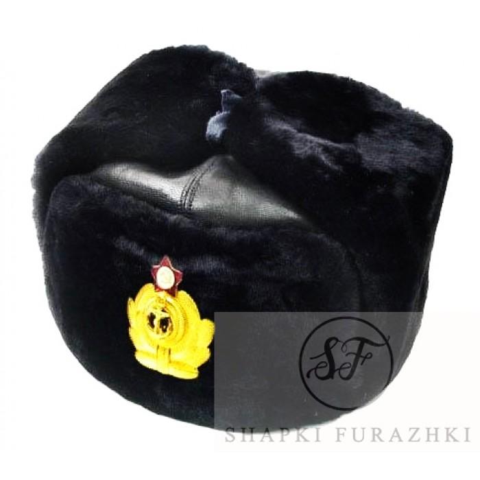 Шапка-ушанка натуральный мех, кожа SH003