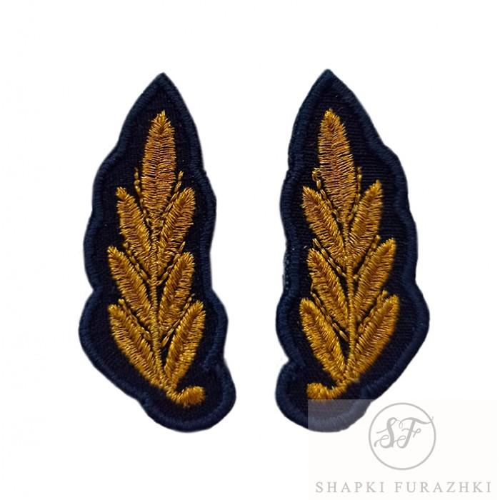 Вышивка на воротник офисной формы синего цвета ВВС РФ, машинная вышивка