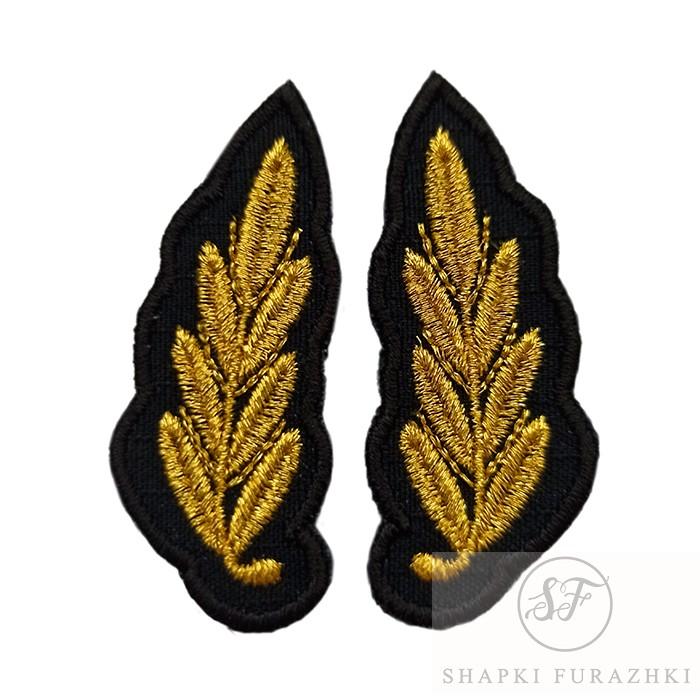 Вышивка на воротник офисной формы зеленого цвета МО РФ, машинная вышивка